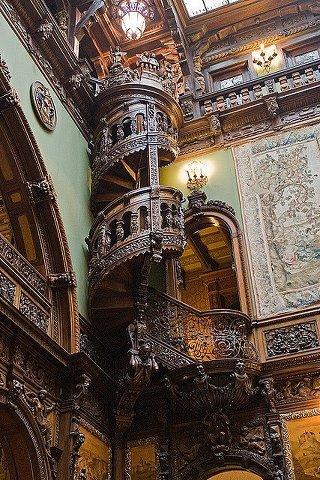 Wooden Spiral Staircase Pele's Castle in Sinaia, Romania